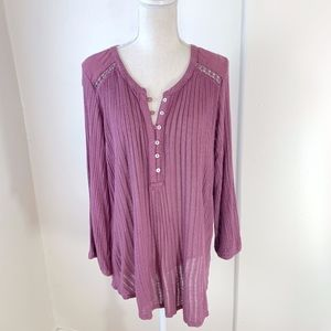 NWT Lucky Brand Mauve Flowy Fit Henley Blouse {C}